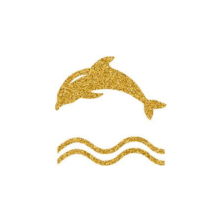Gouden effect Dolphin logo icoon design element. Vector logo concept illustratie. Dolfijn symbool. Ontwerp van logo met dolfijn en label. Gouden glitter ontwerpelement.