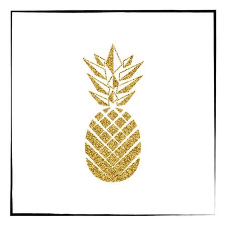 Gold glitter Pineapple pattern. Summer fruit trendy illustration. Pineapple isolated on white background. Poster design. Vector illustration.