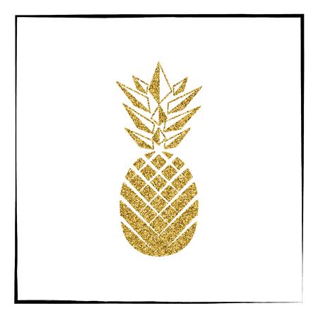 Gold glitter Pineapple pattern. Summer fruit trendy illustration. Poster design. Vector illustration.