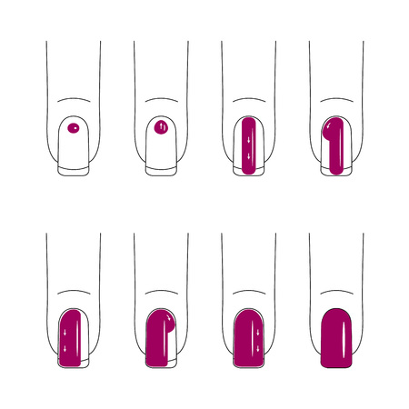 Nail care. Manicure. Nail polish. How exactly to make up nails. Bright, red nails. Vector illustration.