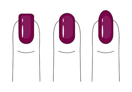 Nagelverzorging. Manicure. Nagellak. Verschillende vormen van de nagelplaat. Heldere, rode nagels. Vector illustratie.