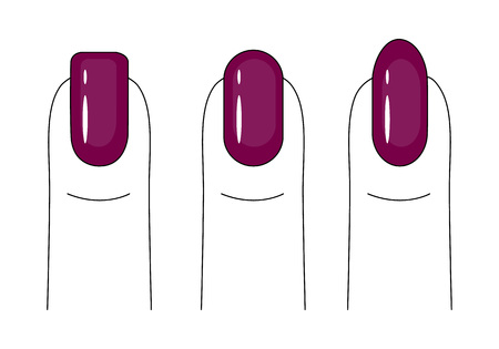 Nail care. Manicure. Nail polish. Different forms of the nail plate. Bright, red nails. Vector illustration. Ilustração