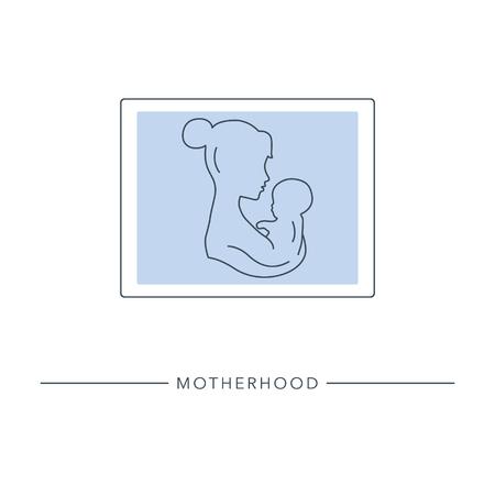 Moederschap en kindertijd. Moeder en baby portret. Gestileerde omtrek symbool van moederschap, moederschap, vruchtbaarheid. Vector illustratie.