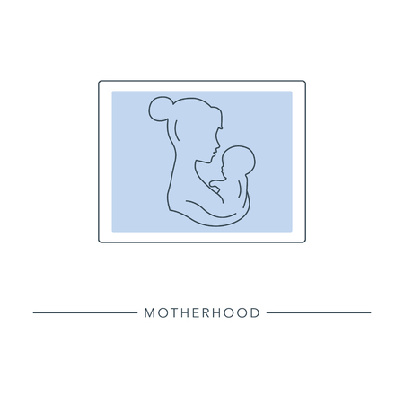 Motherhood and Childhood. Mom and baby portrait. Stylized outline symbol of maternity, motherhood, childbearing. Vector illustration.