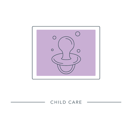 Baby pacifier - vector outline icon. Abstract symbol of maternity, child care, motherhood, childbearing. Ilustração
