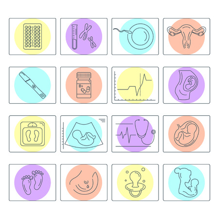 Zwangerschap en bevalling. Obstetrie en gynaecologie vector lijn iconen set. Voorbereiding van een vrouw voor zwangerschap en arbeid. Gezondheid medisch en zorg pasgeboren. Diagnostische apparatuur, medische hulpmiddelen. Moederschap. Stock Illustratie
