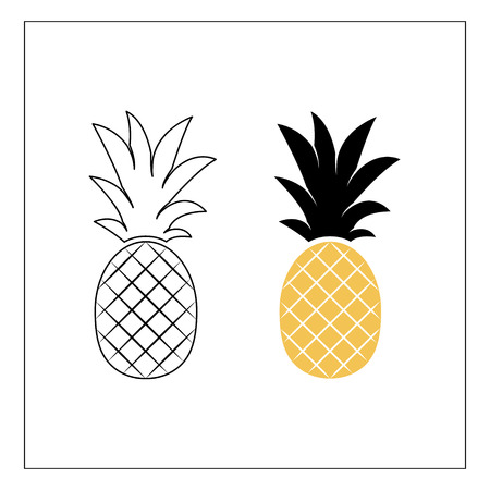 Two pineapples. Pineapple line illustration. Simple vector icon of summer fruit.