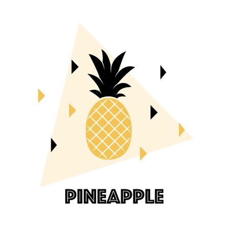 Ananas tropisch fruit. Fruit dat op witte achtergrond wordt geïsoleerd. Exotisch fruit. Platte vectorillustratie Gebruikte illustratie voor typografie, t-shirtgrafiek. Stock Illustratie