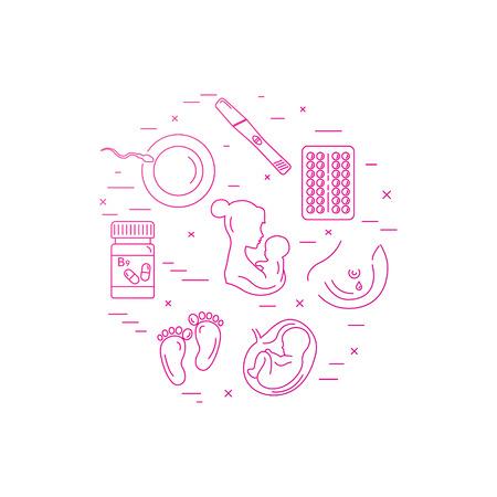 Zwangerschap en bevalling. Obstetrie en gynaecologie vector lijn pictogrammen. Een vrouw voorbereiden op zwangerschap en bevalling. Stock Illustratie