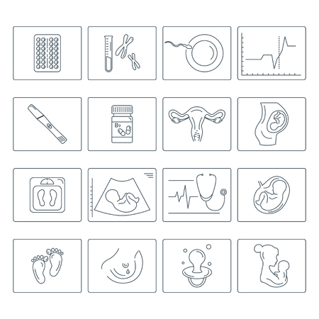 Pregnancy and childbirth. Obstetrics and gynaecology vector line icons set. Preparing a woman for pregnancy and labor.
