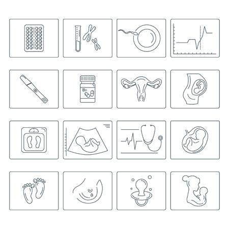 Zwangerschap en bevalling. Obstetrie en gynaecologie vector lijn pictogrammen instellen. Een vrouw voorbereiden op zwangerschap en bevalling. Stock Illustratie