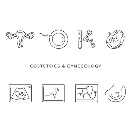Obstetrie en gynaecologie vector lijn pictogrammen. Een vrouw voorbereiden op zwangerschap en bevalling.