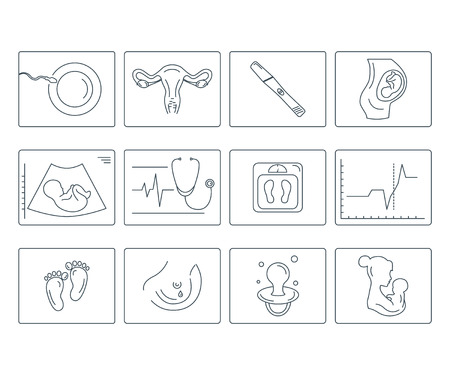 Zwangerschap en bevalling. Obstetrie en gynaecologie vector lijn pictogrammen instellen.
