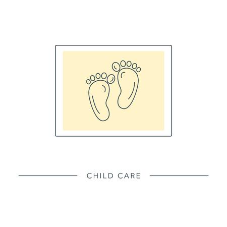 Baby voet pictogram. Gestileerde omtrek symbool van moederschap, moederschap, vruchtbaarheid. Vector illustratie. Stock Illustratie