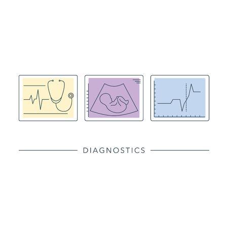 Gynaecologie medische vectorlijnpictogrammen. Diagnostische apparatuur, ultrasone machine, medische hulpmiddelen.