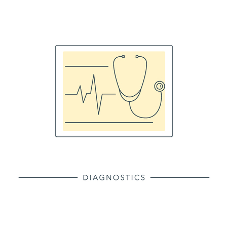 Medicine and healthcare. Medical diagnostic tool - stethoscope isolated on background. Modern outline vector illustration. Ilustrace