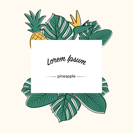 Vector tropical leaves, flower and pineapple. Philodendron, monstera leaves. Composition poster of Jungle leaves. Used illustration for typography, greeting cards, posters, invitations.