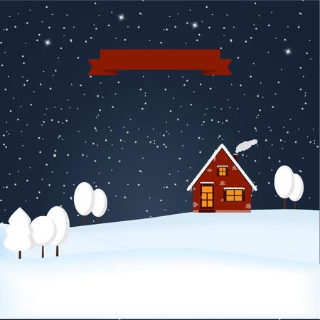 Winter wonderland night snowy scene. Snowfall at night. Lonely winter house. Winter time. Christmas Eve. Starry night sky. Vector illustration.