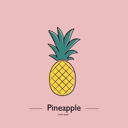 Cute pineapple. Exotic tropical summer fruit. Ananas Minimalistic Sign Vector Design. Used illustration for typography, greeting cards, posters, invitations.