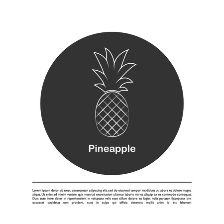 Pineapple Minimalistic Sign Design. Exotic tropical summer fruit. Vector black and white illustration. Trendy line graphic element for your design.