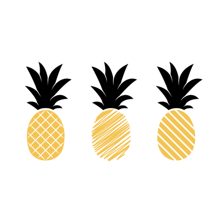 Tropical fruits pineapples isolated on white background. Exotic summer fruits. Flat Vector illustration. Used illustration for typography, wallpaper, fashion design.