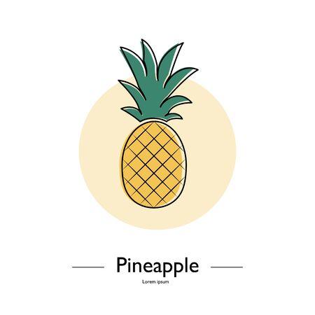 Leuke ananas. Exotisch tropisch de zomerfruit. Ananas Minimalistic Sign Vector Design. Gebruikte illustratie voor typografie, wenskaarten, posters, uitnodigingen.
