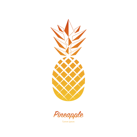 Pineapple isolated on white background. Exotic tropical summer fruit. Trendy Vector illustration. Used illustration for typography, wallpaper, invitations. Ilustração