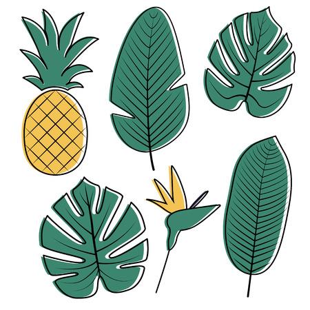 Vector Tropische palmbladen, bloem en ananas geïsoleerd op een witte achtergrond. Philodendron, Monstera vertrekt. Paradijsvogel bloem. Jungle bladeren ingesteld.