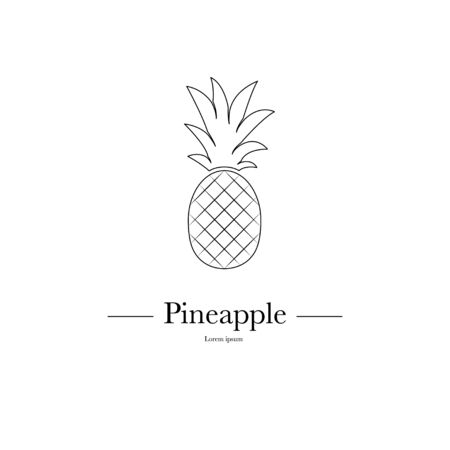 Outline Pineapple Minimalistic Sign Design. Exotic tropical summer fruit. Vector black and white illustration. Trendy line graphic element for your design.