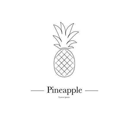 Overzicht ananas minimalistische tekenontwerp. Exotisch tropisch zomerfruit. Vector zwart-wit afbeelding. Trendy lijn grafisch element voor uw ontwerp. Stock Illustratie