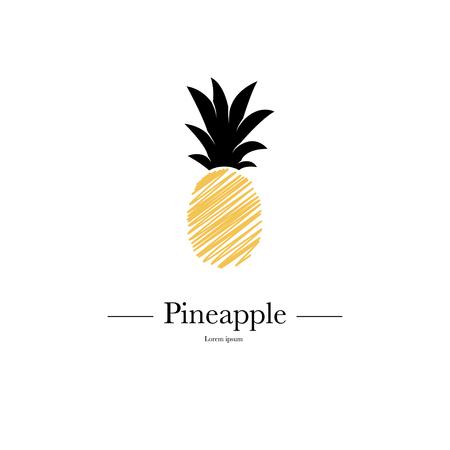 Ananas geïsoleerd op een witte achtergrond. Exotisch tropisch zomerfruit. Trendy vectorillustratie. Gebruikte illustratie voor typografie, behang, uitnodigingen. Stock Illustratie