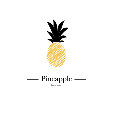 Pineapple isolated on white background. Exotic tropical summer fruit. Trendy Vector illustration. Used illustration for typography, wallpaper, invitations. Stock Illustratie