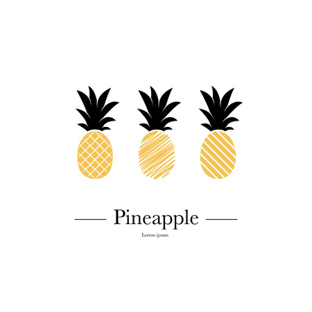 Set of pineapples. Tropical fruits isolated on white background. Exotic summer fruits. Flat Vector illustration. Used illustration for typography, t-shirt graphics. Ilustração