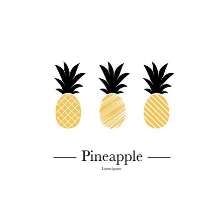 Set Van Ananassen. Tropische vruchten geïsoleerd op een witte achtergrond. Exotisch zomerfruit. Platte vectorillustratie. Gebruikte illustratie voor typografie, t-shirt afbeeldingen.