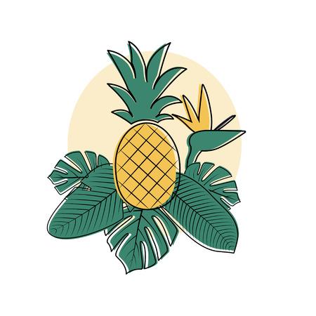Vector Tropische palmbladen, bloem en ananas. Philodendron, Monstera vertrekt. Paradijsvogel bloem. Samenstelling van Jungle bladeren. Stock Illustratie