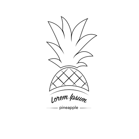 Outline pineapple icon logo. Exotic tropical summer fruit. Ananas Minimalistic Sign Design. Trendy line vector graphic element for your design.
