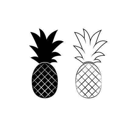Ananas minimalistisch tekenontwerp. Exotisch tropisch zomerfruit. Vector zwart-wit afbeelding. Trendy lijn grafisch element voor uw ontwerp. Stock Illustratie