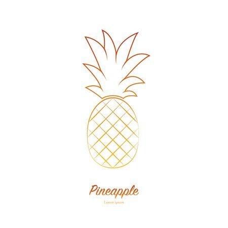 Ananas minimalistisch tekenontwerp. Exotisch tropisch zomerfruit. Ananas pictogram. Trendy lijn vector grafisch element voor uw ontwerp.
