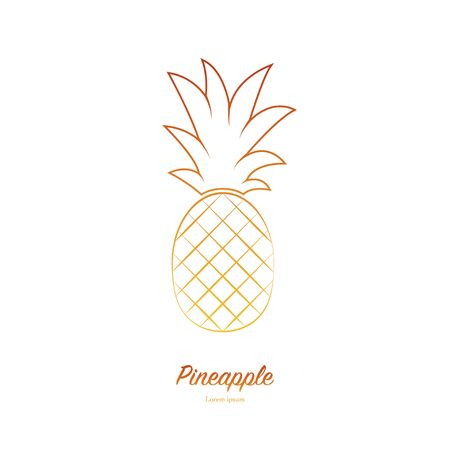 Pineapple Minimalistic Sign Design. Exotic tropical summer fruit. Ananas icon. Trendy line vector graphic element for your design. Ilustração