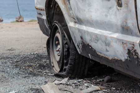 militarily: melted car tire of crashed car