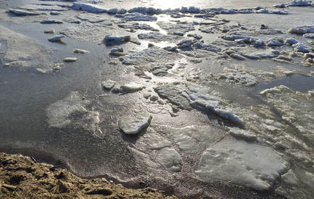 ice drift on the river. large ice floes float.