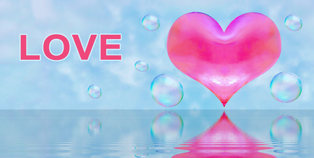 a heart-shaped soap bubble. light relations in love is not obligatory flirting. the reflection in the water. red heart. inscription love Stok Fotoğraf