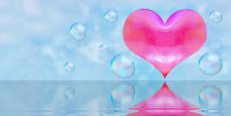 a heart-shaped soap bubble. light relations in love is not obligatory flirting. the reflection in the water. red heart.