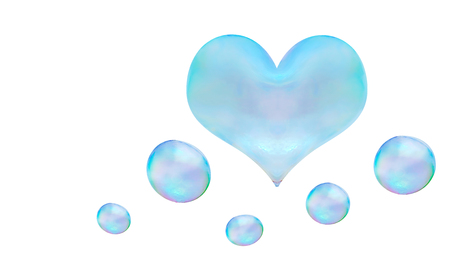 a heart-shaped soap bubble. light relations in love is not obligatory flirting Foto de archivo - 107995589