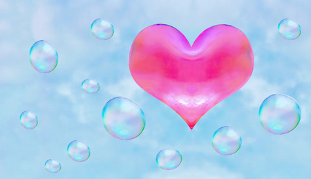 a heart-shaped soap bubble. light relations in love is not obligatory flirting.  red heart.