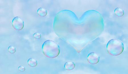 a heart-shaped soap bubble. light relations in love is not obligatory flirting.