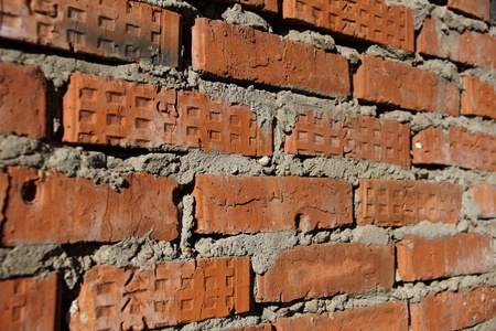 surface of an old red brick wall grunge background texture close up Foto de archivo - 111491781
