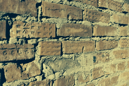 surface of an old red brick wall grunge background texture close up Foto de archivo - 111482641
