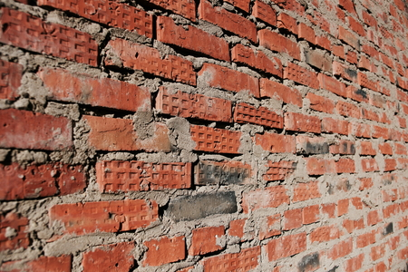 surface of an old red brick wall grunge background texture close up Foto de archivo - 111482645