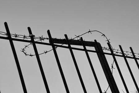 metal fence fence barbed wire protected area captivity black and white close-up copy space Banque d'images - 111491937